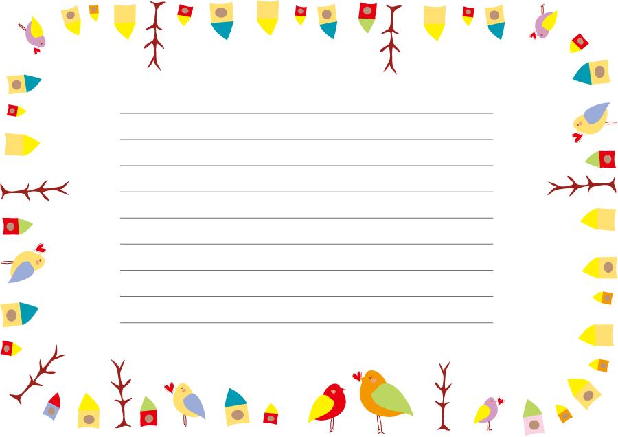フリーイラスト ハートを咥える小鳥と巣箱の便箋でアハ体験 Gahag