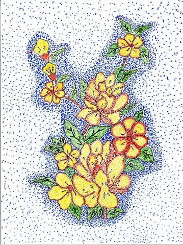 Contoh Gambar Pointilis Bunga Simple Koleksi Gambar Bunga