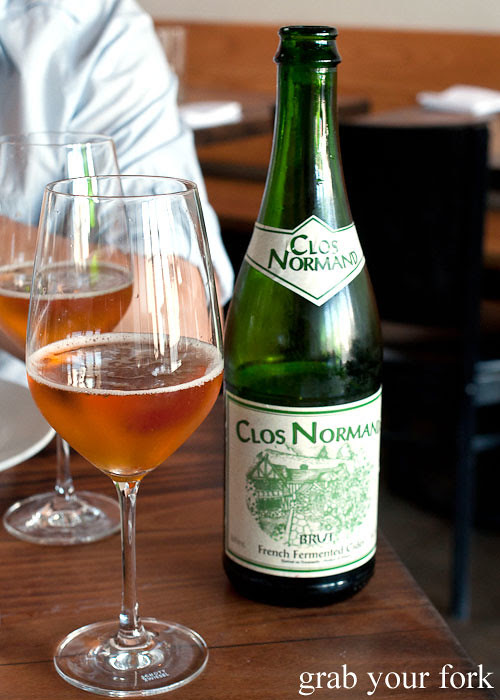 clos normand brut cider at animal restaurant los angeles by jon shook and vinny dotolo