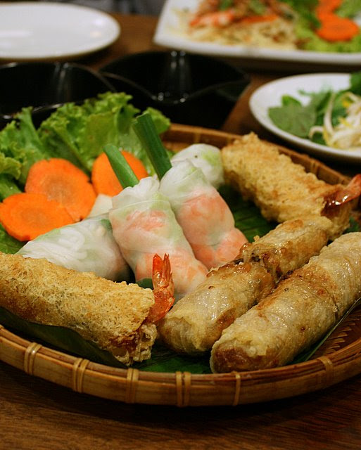 Basket of spring roll goodies