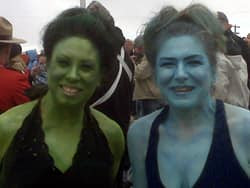Tammy Dann and Alana Webster dressed up as Orion slave girls to celebrate Leonard Nimoy's visit to Vulcan.