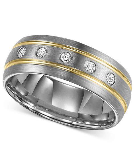 Triton Men's Diamond Stripe Wedding Band In Tungsten