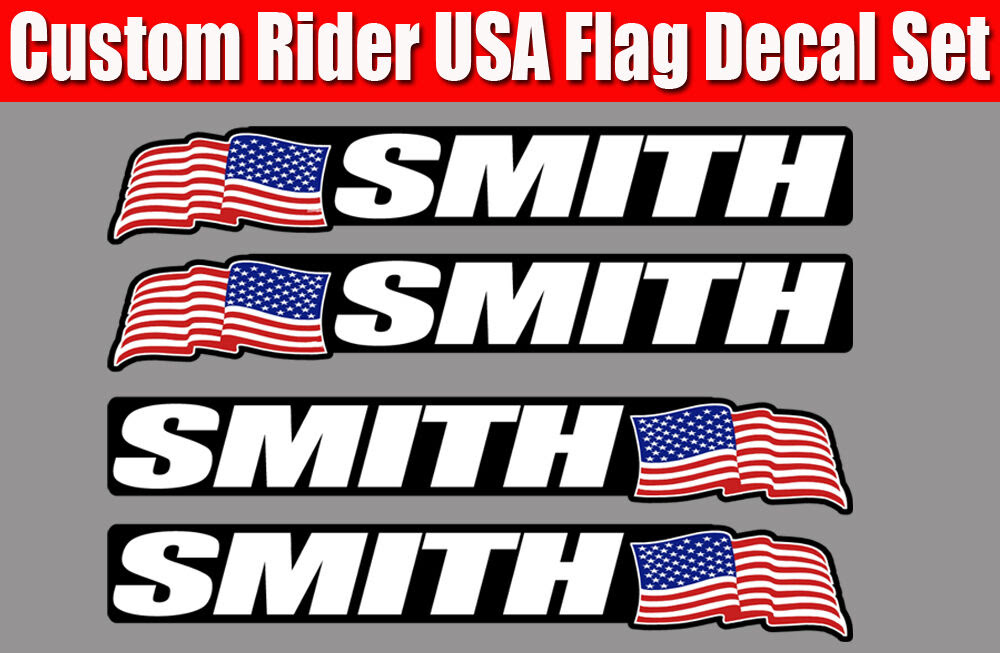 4 piece Custom Bicycle Frame Name USA decal Cycling Sticker set for bike helmet  eBay