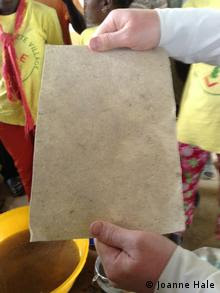 Photo: A sheet of paper made from the fibres of the enset plant.