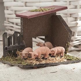 Pocilga de cerdos de 10x8x7cm