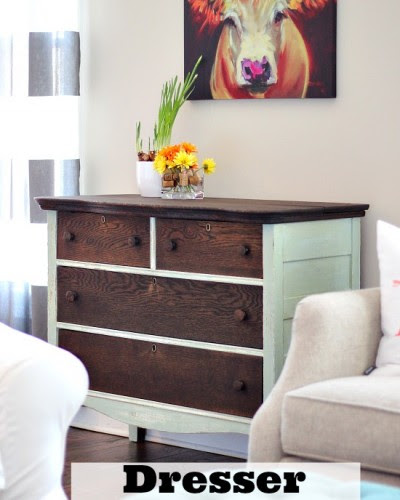 Dresser Makeover with Stain and Paint
