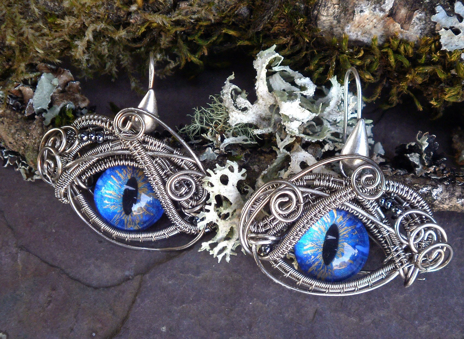 Gothic Steampunk Cat Evil Eye Earrings in True Blue