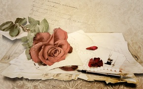 manipular, papel, rosa, msica, Vintage, carta