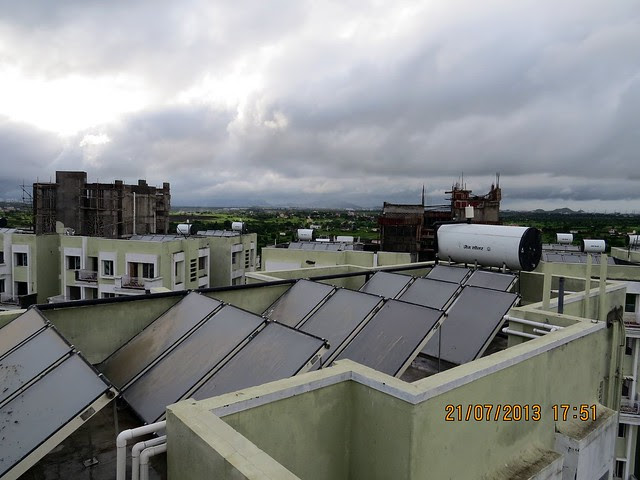 Solar Water Heating - Monsoon Offer July 2013 of Ishwar Parmar Group's River Residency on Dehu Alandi Road at Chikhali, PCMC, Pune 412114