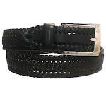 "PGA Tour Braided Pattern Leather Belt, 40"" Black/Cognac"