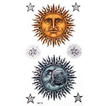 Grashine New Design Temporary Tattoo Stickers Cartoon Sun Man and Moon Man with Stars Waterproof and Non Toxic Fake Temp Tattoo Sticker