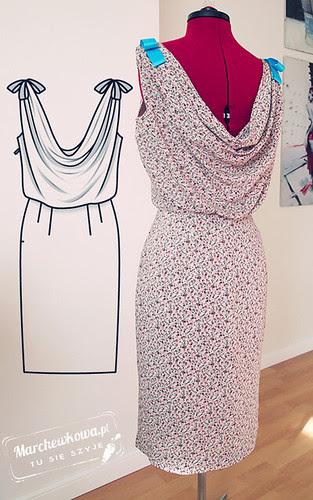 Bmarchewkowa, blog, szafiarka, krawiectwo, szycie, DIY, bawełna w kółka, PIEGATEX, batyst, retro, vintage, 60s, sukienka, Burda 5/2012, model, dress 133