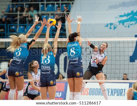 Dynamo Moscow team block on game Dynamo MSK vs Dynamo KZN on Russian National wemen Volleyball tournament on November 2, in Moscow, Russia, 2016