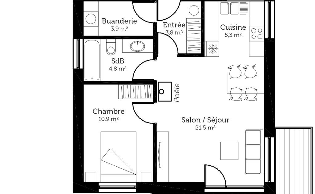 plan maison 1 chambre salon cuisine