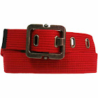 Luxury Divas Canvas Belt with Square Buckle - Red - X-Large