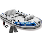 Intex 68324EP Excursion 4 Inflatable Rafting/ Fishing Boat Set with Aluminum Oars, Gray