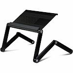 Furinno A6 Ergonomics Aluminum Vented Adjustable Multi-functional Laptop Desk Portable Bed Tray, Black