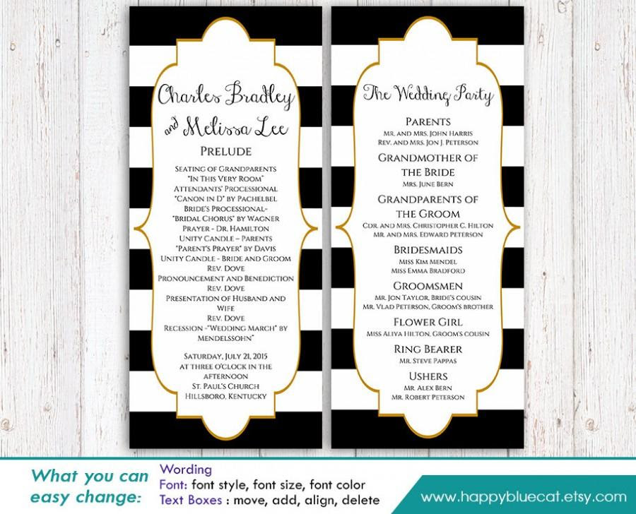 Diy Printable Program Wedding Template Instant Download Editable