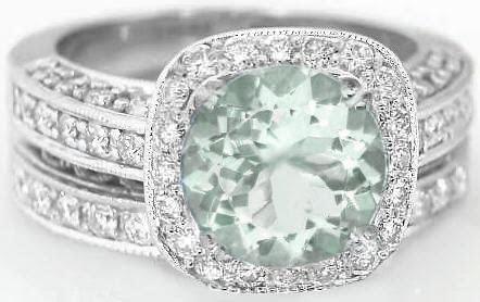 8mm Round Prasiolite Diamond Halo Engagement Ring with