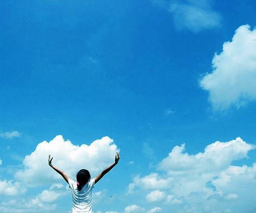 blue, clouds, girl, person, sky