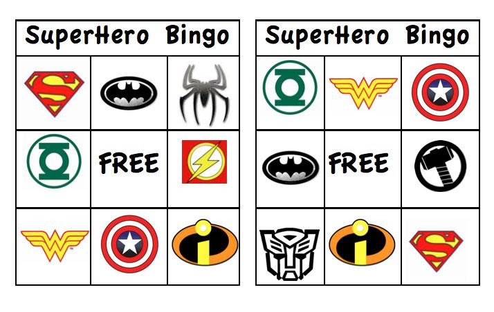 FREE Superhero Bingo Printable, links for other Free Printables ...