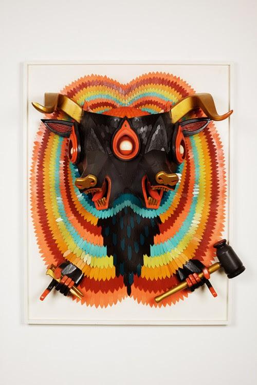 ajfossik bois tableau sculptre 01 500x750 Les monstres en relief dAJ Fosik  art