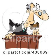 Royalty Free RF Clip Art Illustration Of A Cartoon Judge Leaning Over His Desk by Ron Leishman
