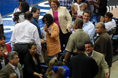 Fans gawking at the prez
