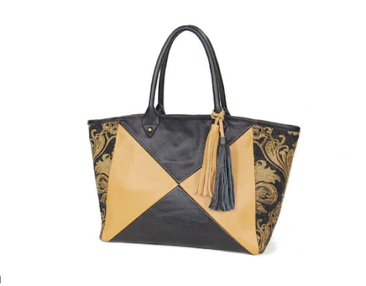 Leather and Tapestry X Tote - BeautifulBagsEtc