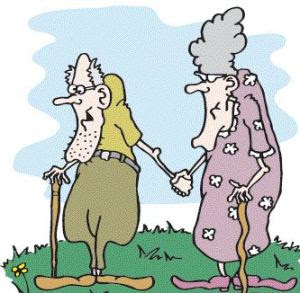 Old couple cartoon