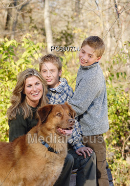 Stock Photo Mother Two Sons Dog Autumnal Park Image Pc600704