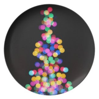 Blurred Christmas Lights Party Plates