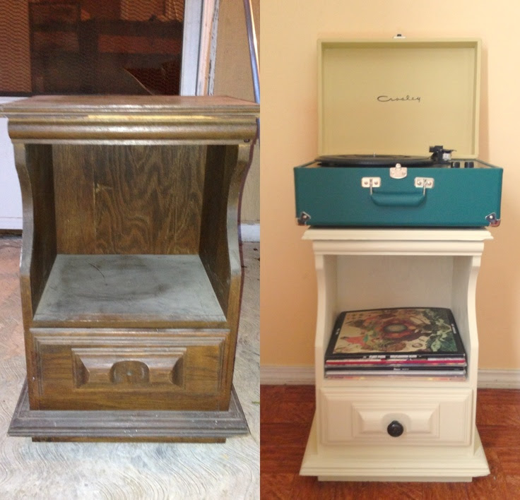 Before and after. Furniture used as a record player stand.
