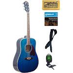 OG2 Oscar Schmidt Dreadnought Acoustic Guitar, Washburn, Blue, NEW - OG2TBL KIT
