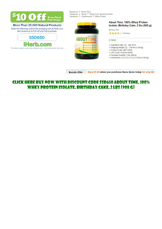ancenap - About Time, 100% Whey Protein Isolate, Birthday Cake, 2 lbs (908 g)  - Page 1 - Powered by Publitas