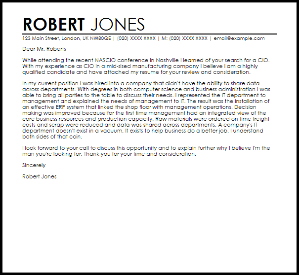 Cio Cover Letter Sample Cover Letter Templates Examples