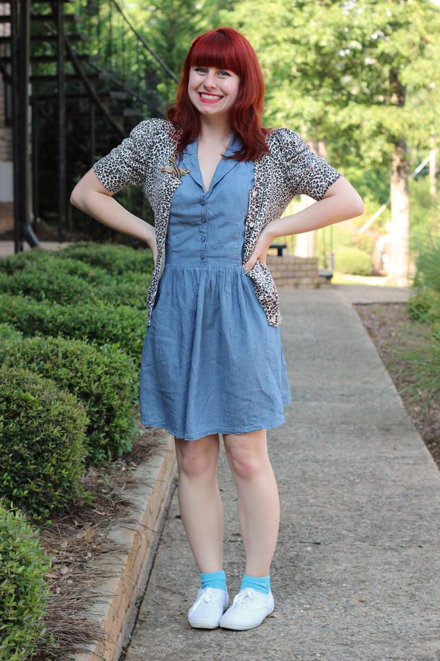Denim dress, leopard cardigan, Keds, Airplane Pin