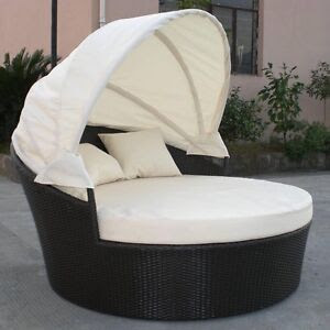 Outdoor Wicker Patio Furniture Canopy Day Bed Black Wicker Free