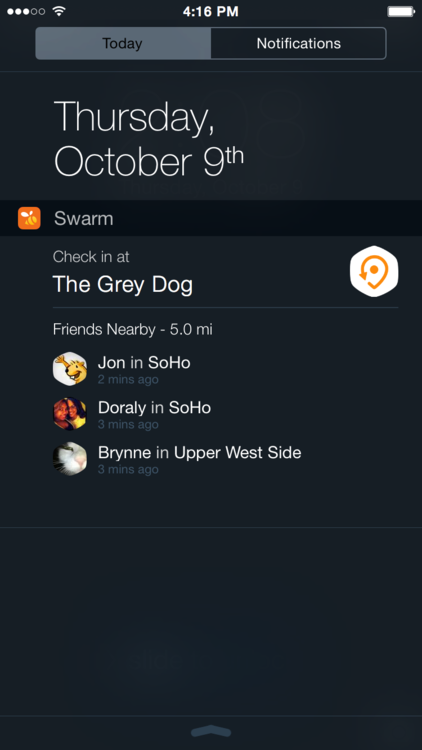 Super fast check in (even from your lock screen). Try out our new Swarm widget for iOS 8.