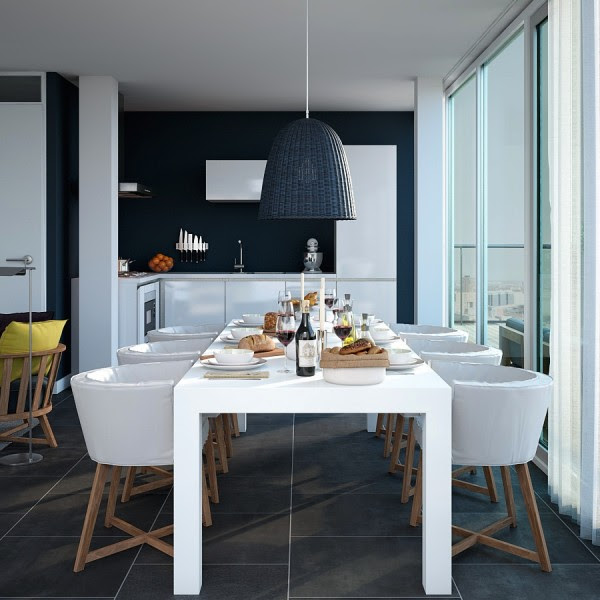 Triple D- Dark Navy and White Apartment kitchen dining with large tiles and light wood accessorizing