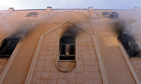 A Christian Church in Libya after being firebombed and attacked by rebels. The U.S.-backed regime has failed to protect Christians who lived unscathed under the Gaddafi government. by Pan-African News Wire File Photos