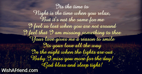 Its The Time To Good Night Poem For Him