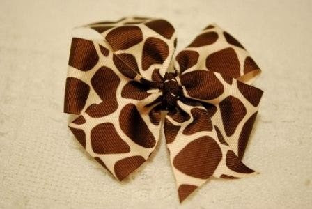 Hairbow, giraffe print, brown and beige