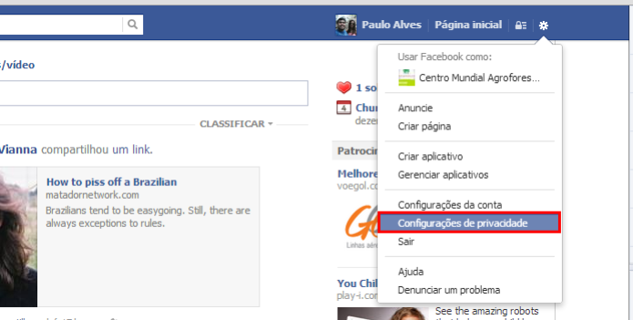 Acesse as opções de privacidade (Foto: Reprodução/Paulo Alves) (Foto: Acesse as opções de privacidade (Foto: Reprodução/Paulo Alves))