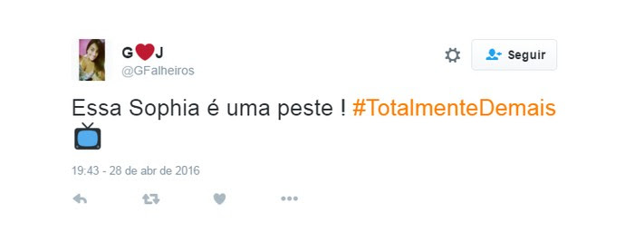 comentário: sofia é uma peste (Foto: Reproduçaõ twitter)
