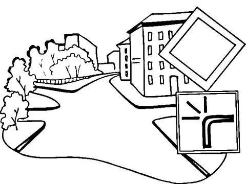 Dibujo De Señal De Carretera Principal Para Colorear Dibujos Para