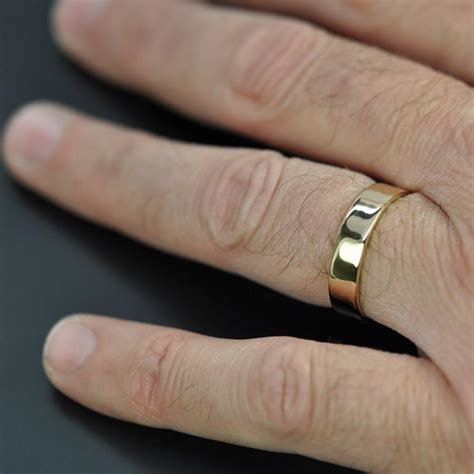 5mm Wide Mens Gold Ring, 18K Yellow Gold Wedding Band