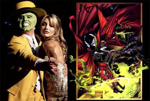 PIC 1: Jim Carrey and Cameron Diaz share a dance in THE MASK.  PIC 2: A Todd McFarlane drawing of SPAWN.