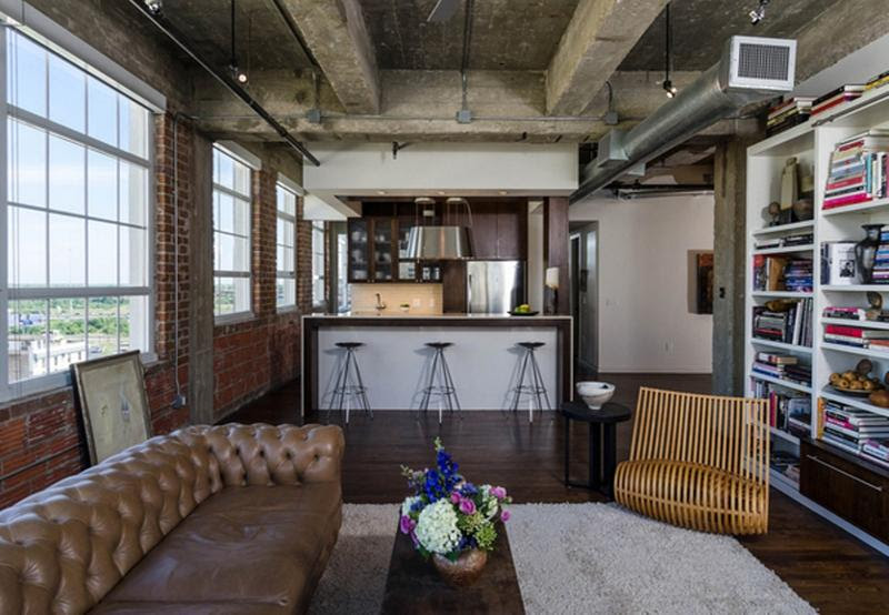 15 Stunning Industrial Living Room Designs - Rilane