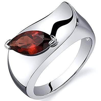 Musuem Style Marquise Cut Garnet Ring